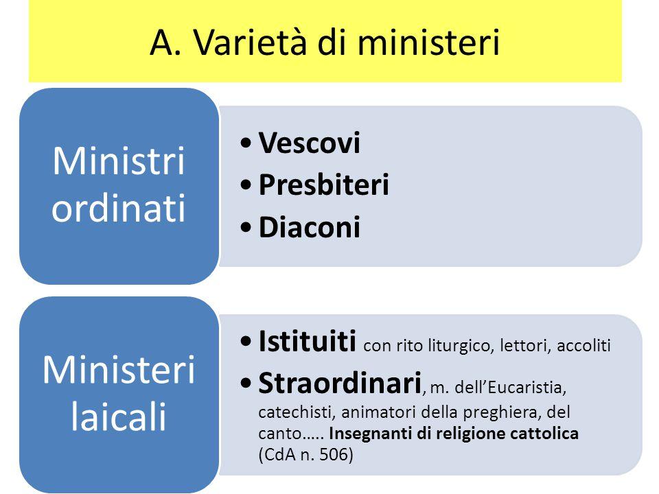 A. Varietà di ministeri Vescovi Presbiteri Diaconi