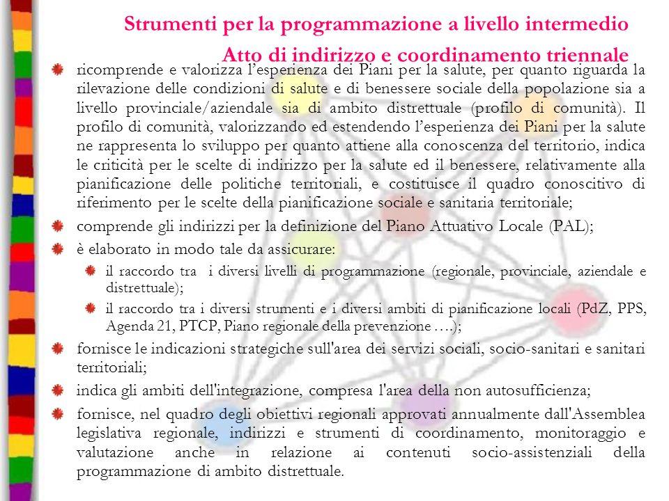 Strumenti per la programmazione a livello intermedio Atto di indirizzo e coordinamento triennale