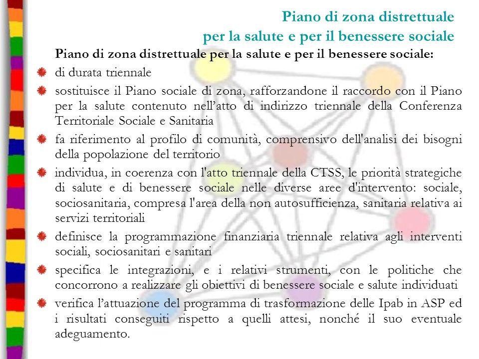 Piano di zona distrettuale per la salute e per il benessere sociale