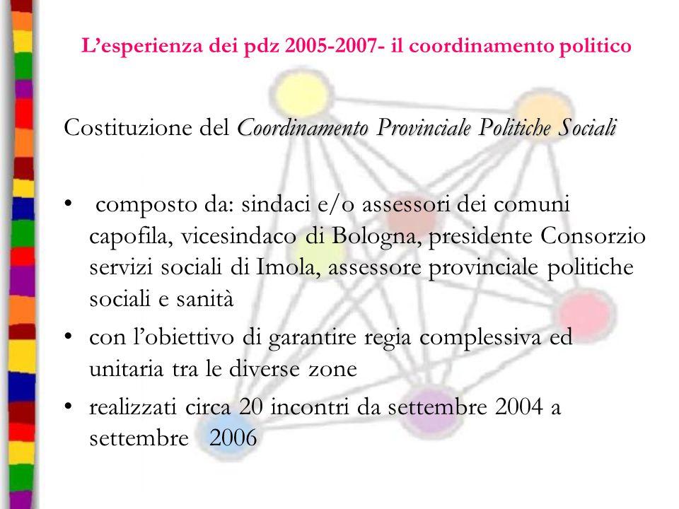 L'esperienza dei pdz 2005-2007- il coordinamento politico