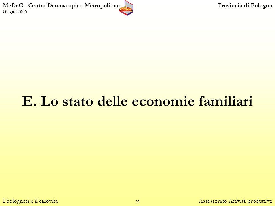 E. Lo stato delle economie familiari