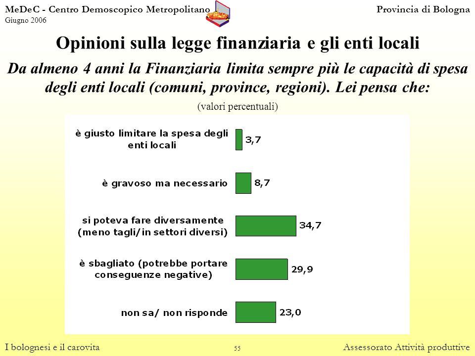 Opinioni sulla legge finanziaria e gli enti locali