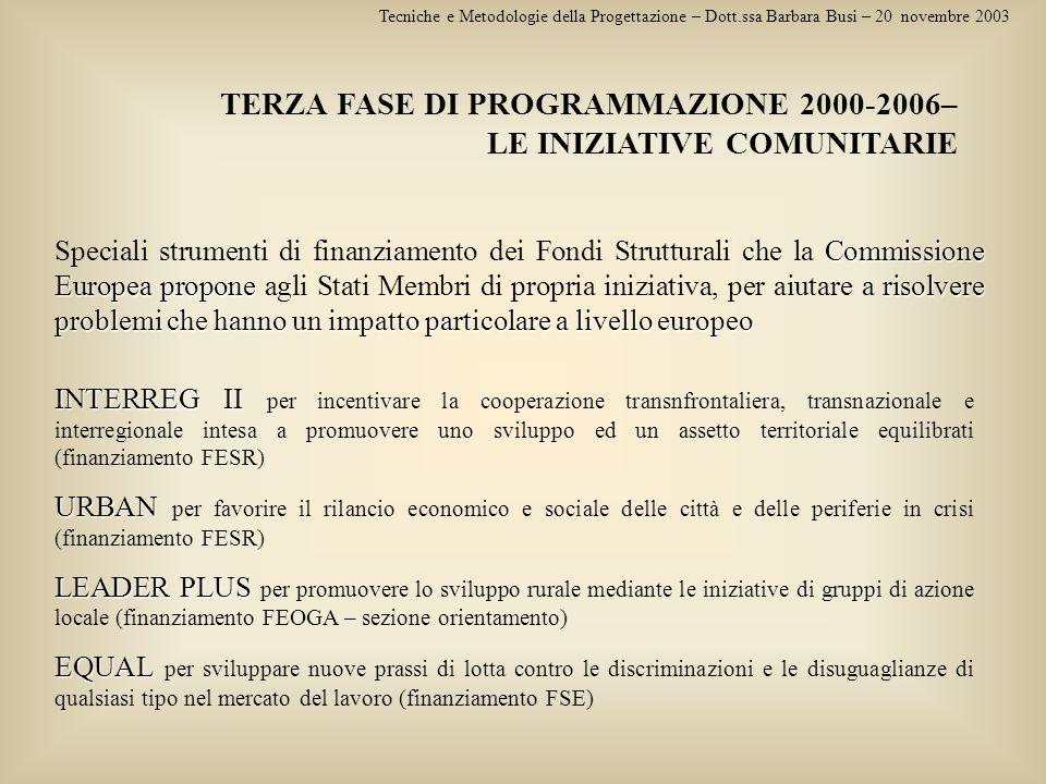 TERZA FASE DI PROGRAMMAZIONE 2000-2006– LE INIZIATIVE COMUNITARIE