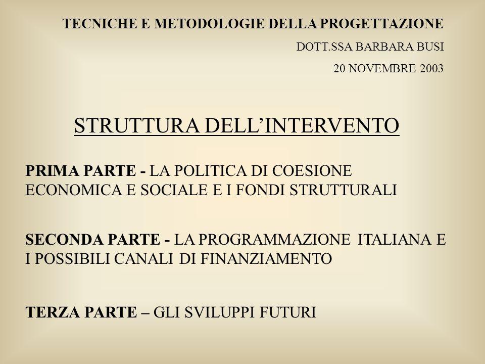 STRUTTURA DELL'INTERVENTO