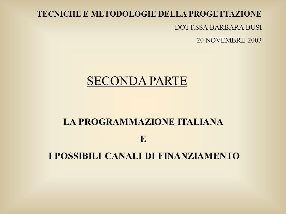 LA PROGRAMMAZIONE ITALIANA I POSSIBILI CANALI DI FINANZIAMENTO