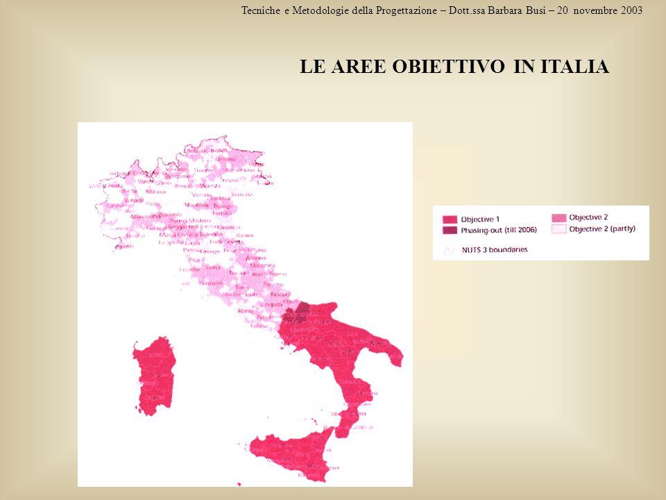 LE AREE OBIETTIVO IN ITALIA