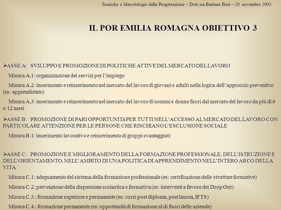 IL POR EMILIA ROMAGNA OBIETTIVO 3