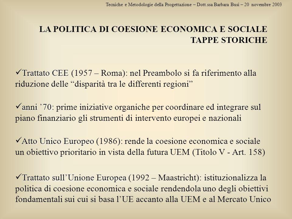 LA POLITICA DI COESIONE ECONOMICA E SOCIALE TAPPE STORICHE