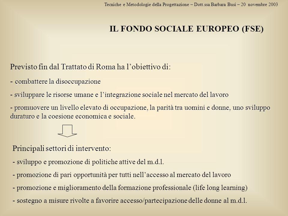 IL FONDO SOCIALE EUROPEO (FSE)