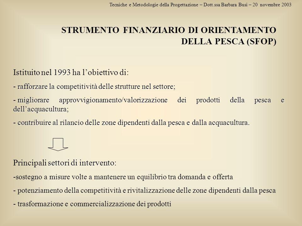 STRUMENTO FINANZIARIO DI ORIENTAMENTO DELLA PESCA (SFOP)