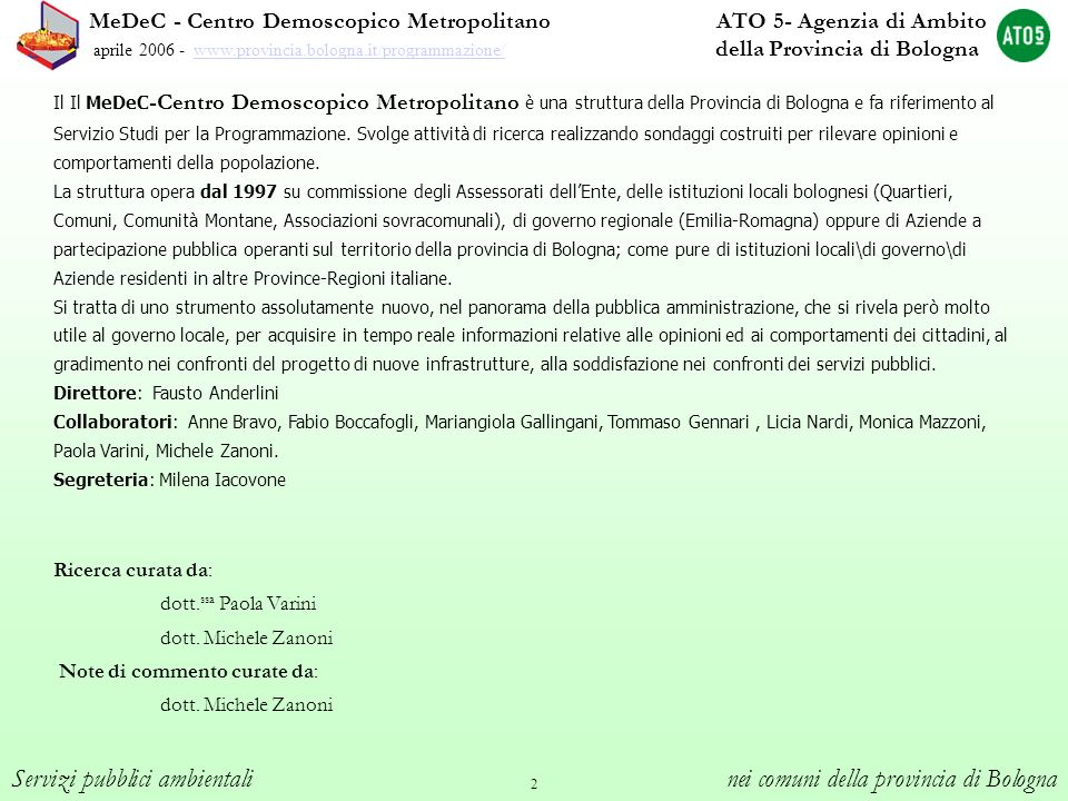 Servizi pubblici ambientali nei comuni della provincia di Bologna