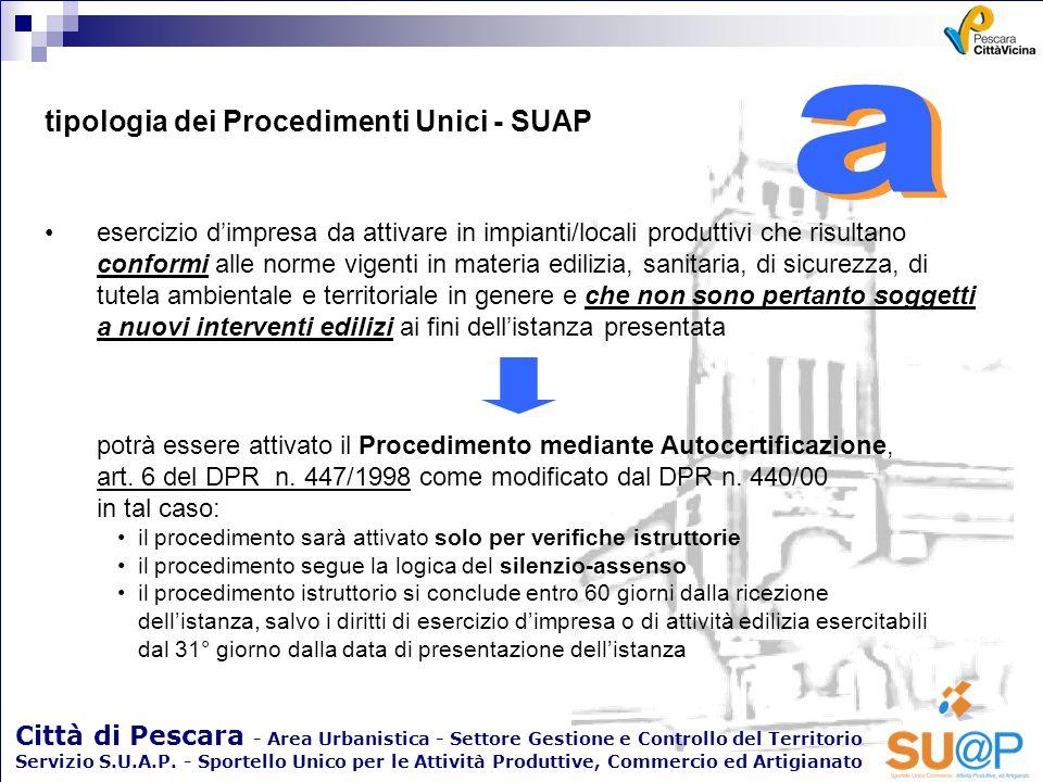 a a tipologia dei Procedimenti Unici - SUAP