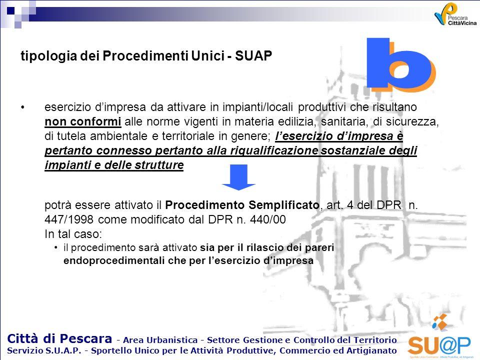 b b tipologia dei Procedimenti Unici - SUAP