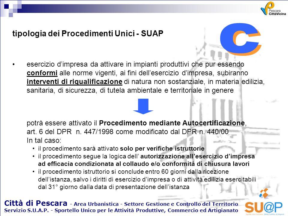c c tipologia dei Procedimenti Unici - SUAP