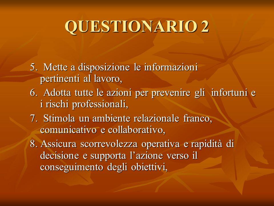 QUESTIONARIO 2 5. Mette a disposizione le informazioni pertinenti al lavoro,