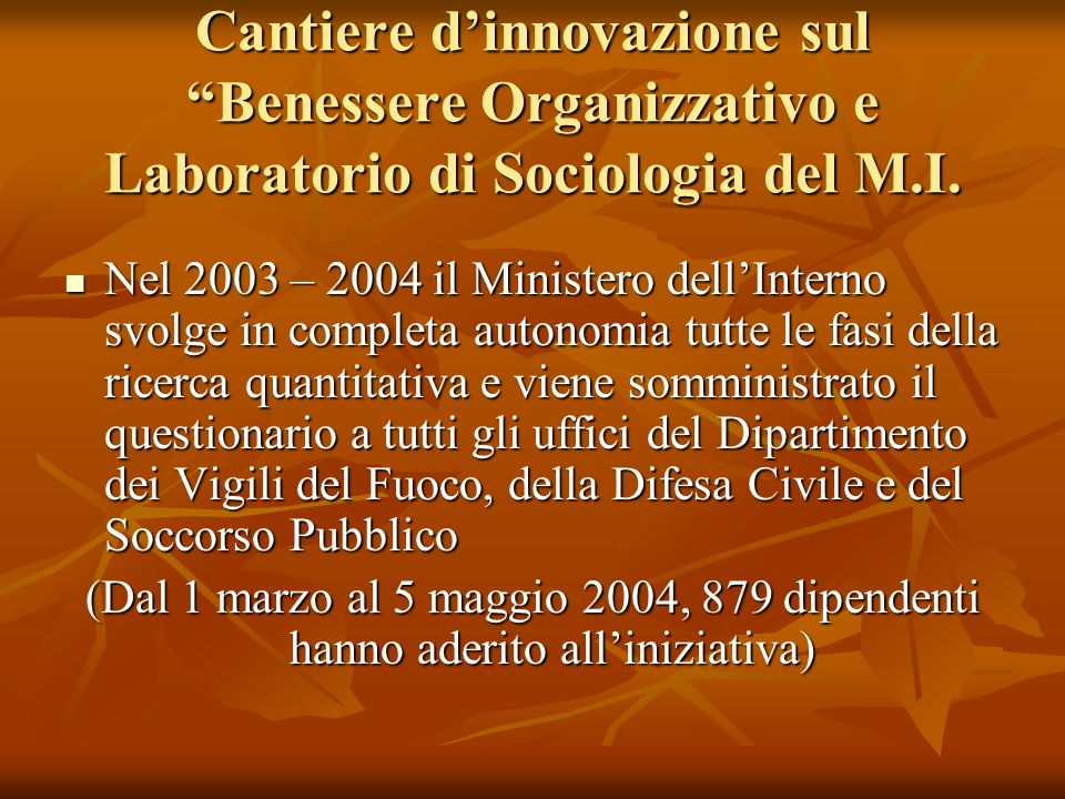Cantiere d'innovazione sul Benessere Organizzativo e Laboratorio di Sociologia del M.I.