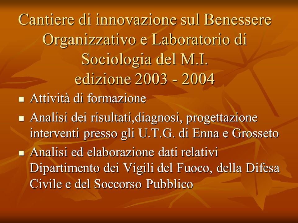 Cantiere di innovazione sul Benessere Organizzativo e Laboratorio di Sociologia del M.I. edizione 2003 - 2004