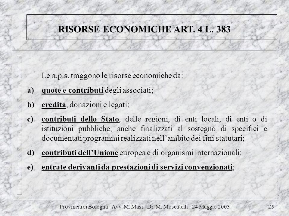 RISORSE ECONOMICHE ART. 4 L. 383