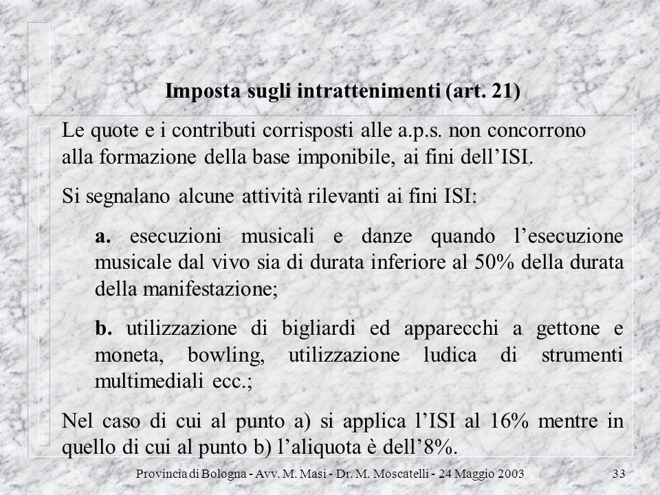 Imposta sugli intrattenimenti (art. 21)