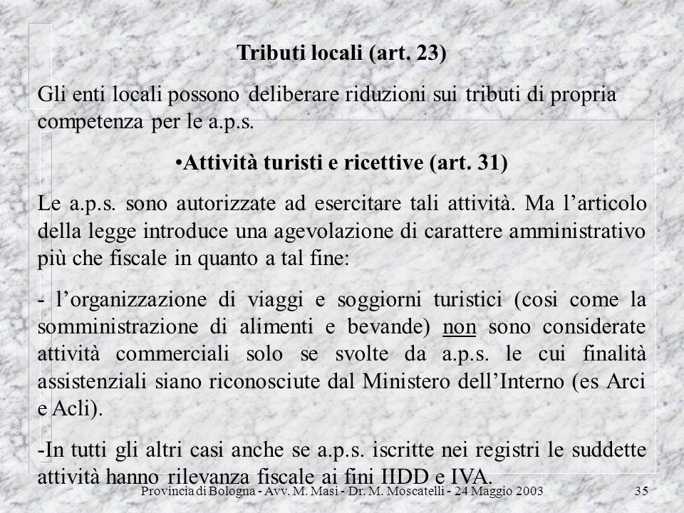 Attività turisti e ricettive (art. 31)