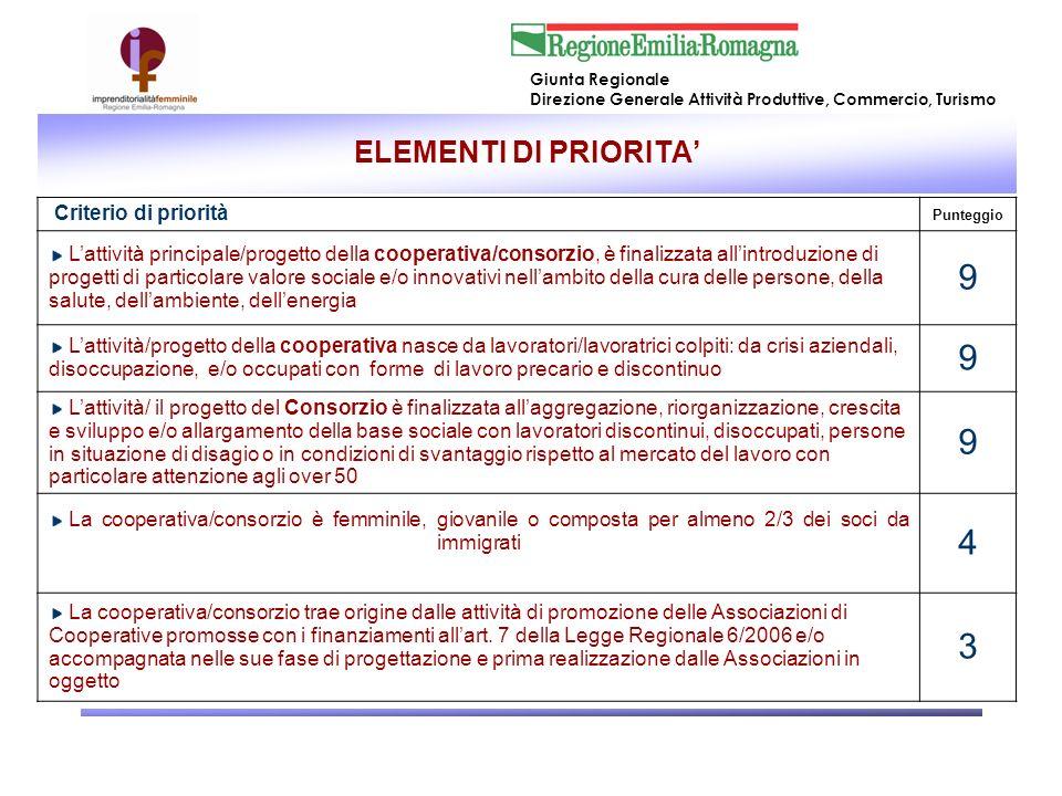 9 4 3 ELEMENTI DI PRIORITA' Criterio di priorità