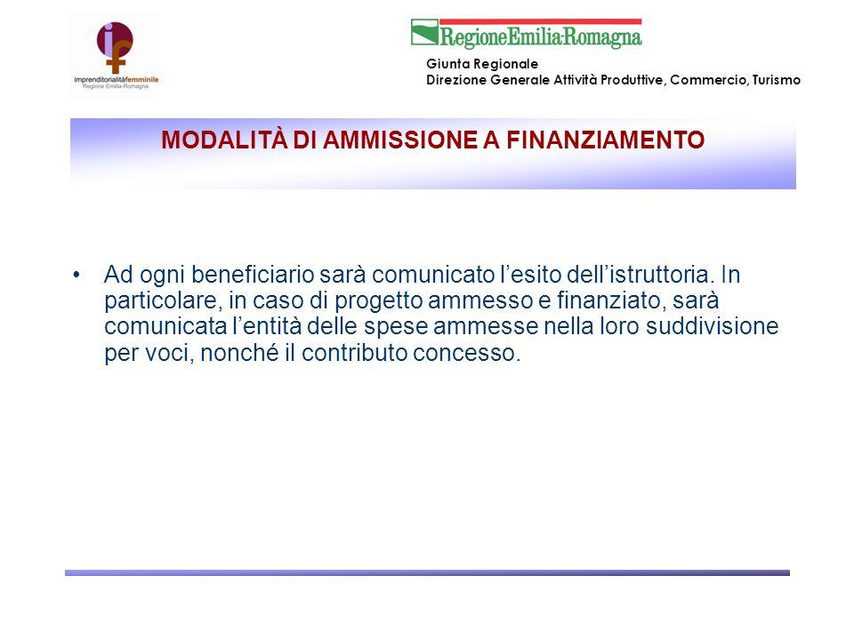 MODALITÀ DI AMMISSIONE A FINANZIAMENTO