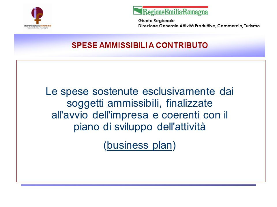 SPESE AMMISSIBILI A CONTRIBUTO
