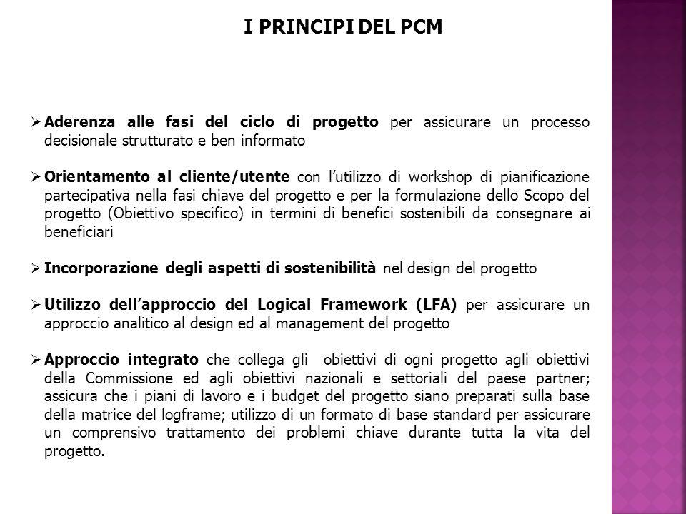 I PRINCIPI DEL PCM Aderenza alle fasi del ciclo di progetto per assicurare un processo decisionale strutturato e ben informato.