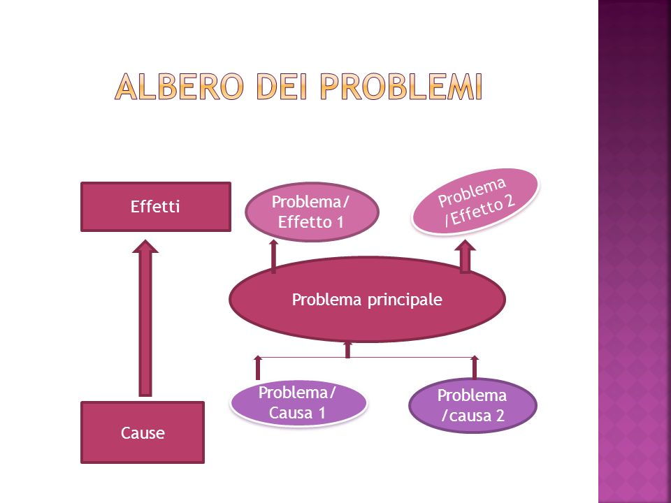 Albero dei problemi Problema /Effetto 2 Problema/Effetto 1 Effetti
