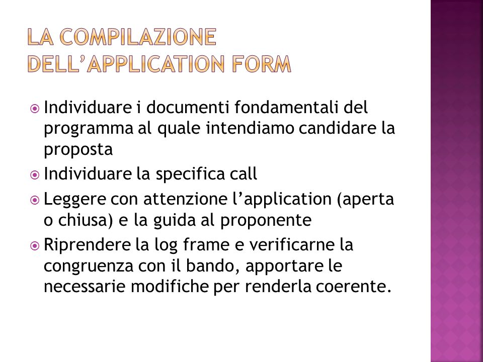 La compilazione dell'application form