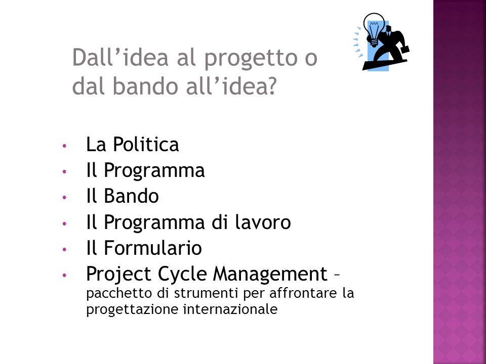 Dall'idea al progetto o dal bando all'idea