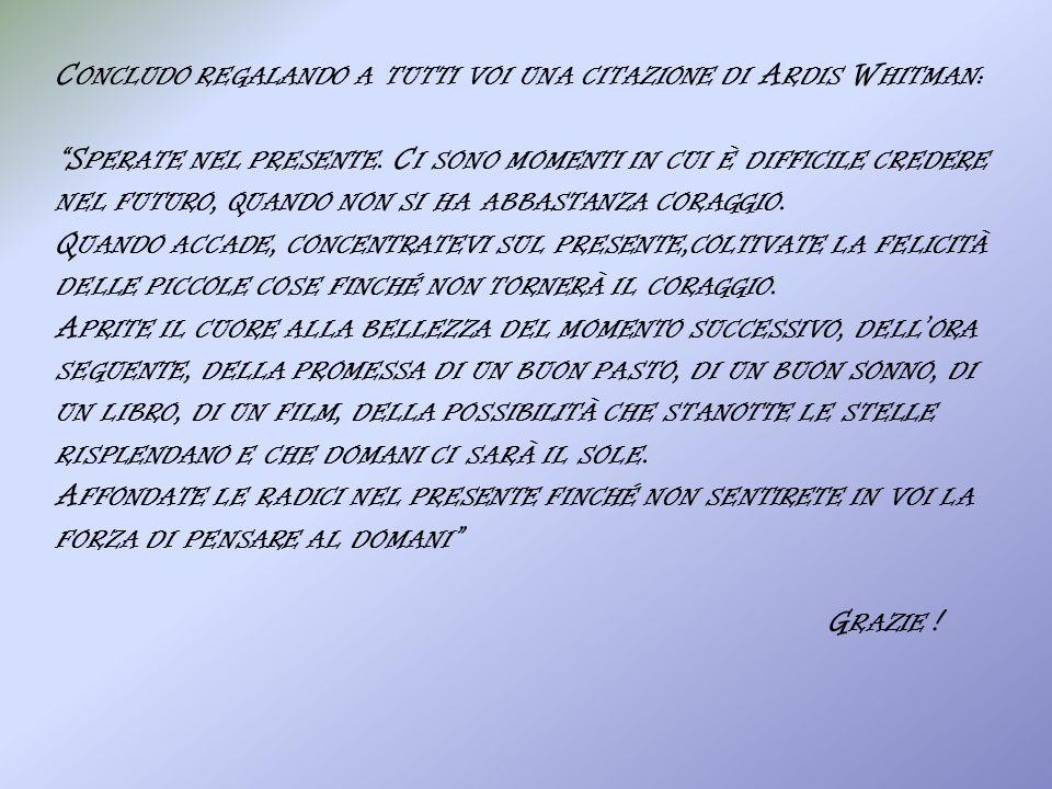 Concludo regalando a tutti voi una citazione di Ardis Whitman: