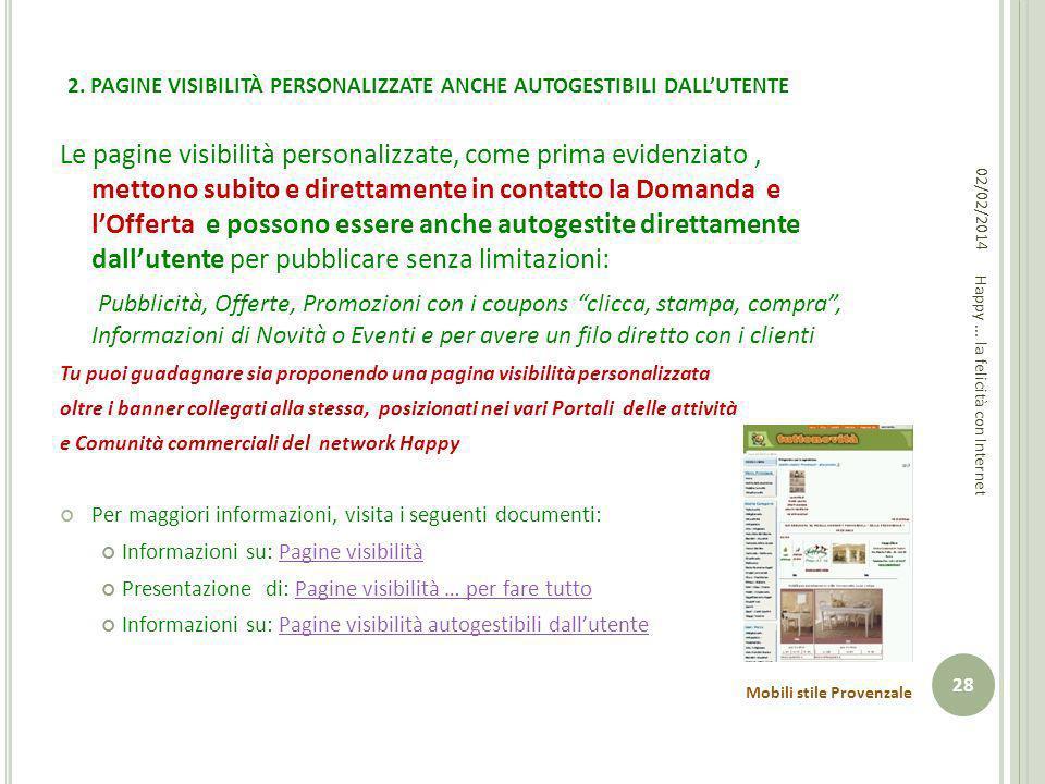 2. PAGINE VISIBILITÀ PERSONALIZZATE ANCHE AUTOGESTIBILI DALL'UTENTE