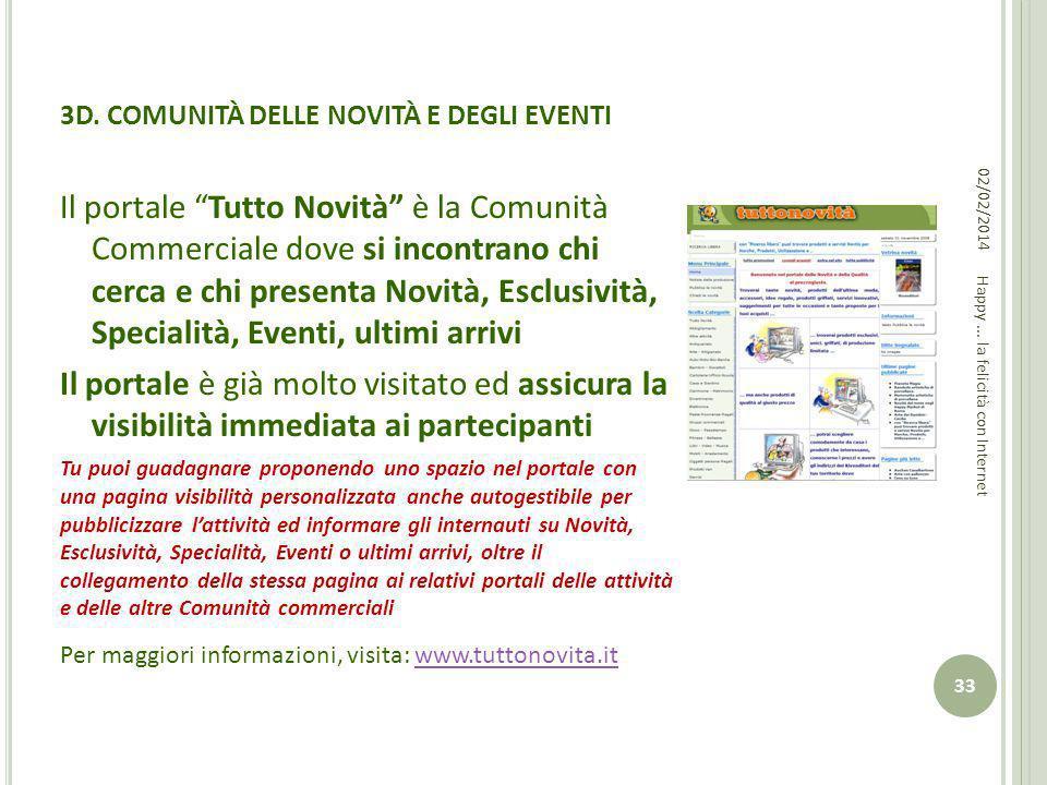 3D. COMUNITÀ DELLE NOVITÀ E DEGLI EVENTI