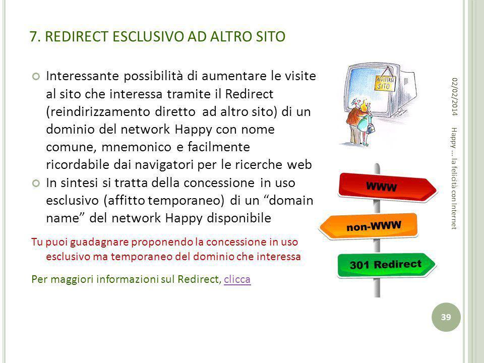 7. REDIRECT ESCLUSIVO AD ALTRO SITO