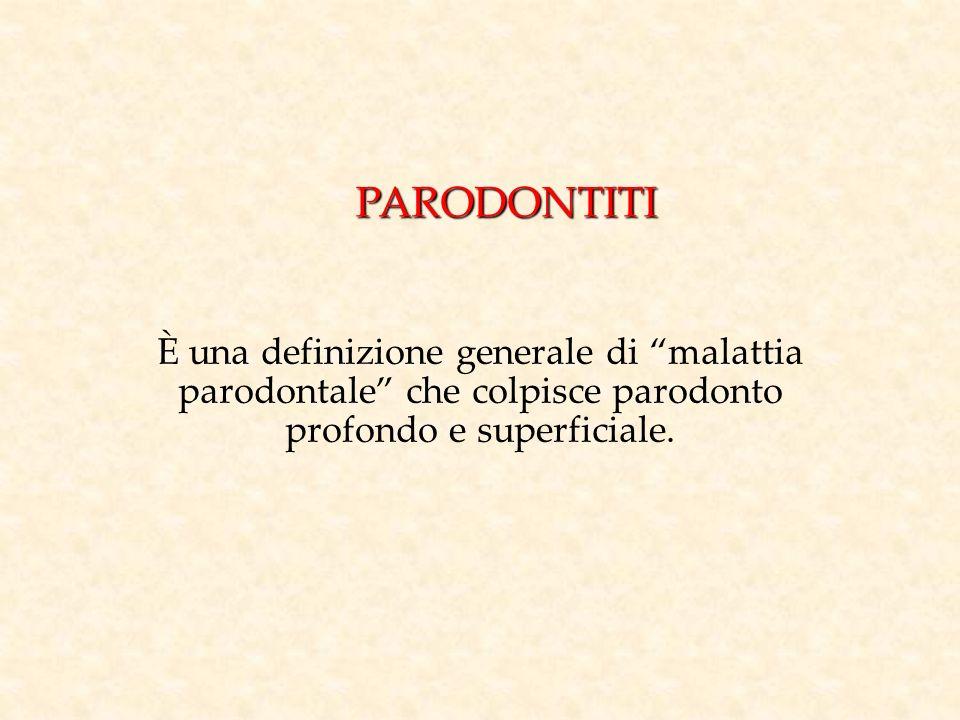 PARODONTITI È una definizione generale di malattia parodontale che colpisce parodonto profondo e superficiale.