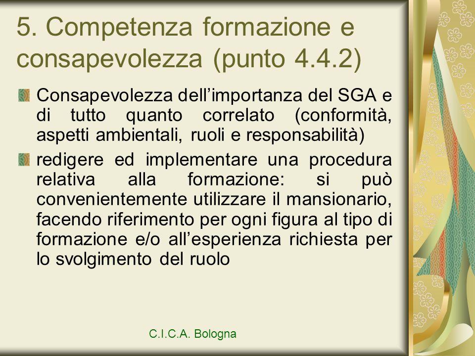5. Competenza formazione e consapevolezza (punto 4.4.2)