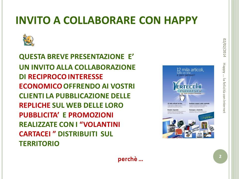 INVITO A COLLABORARE CON HAPPY