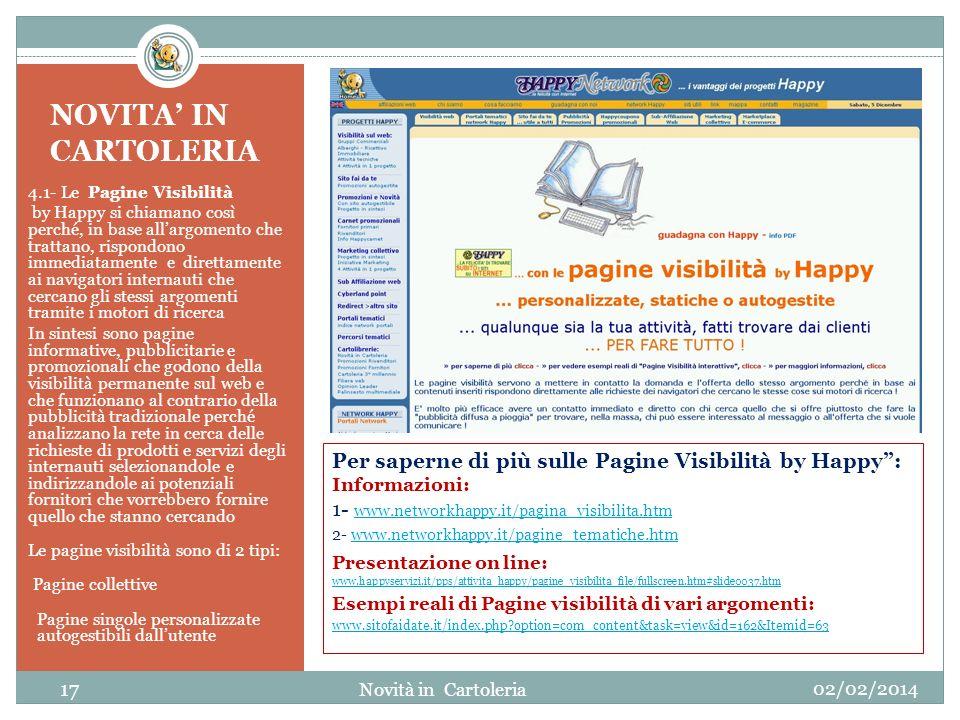 NOVITA' IN CARTOLERIA 4.1- Le Pagine Visibilità.