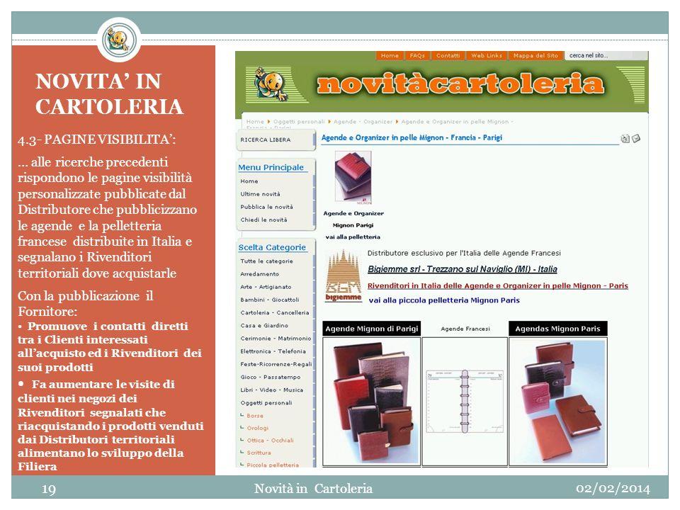 NOVITA' IN CARTOLERIA 4.3- PAGINE VISIBILITA':
