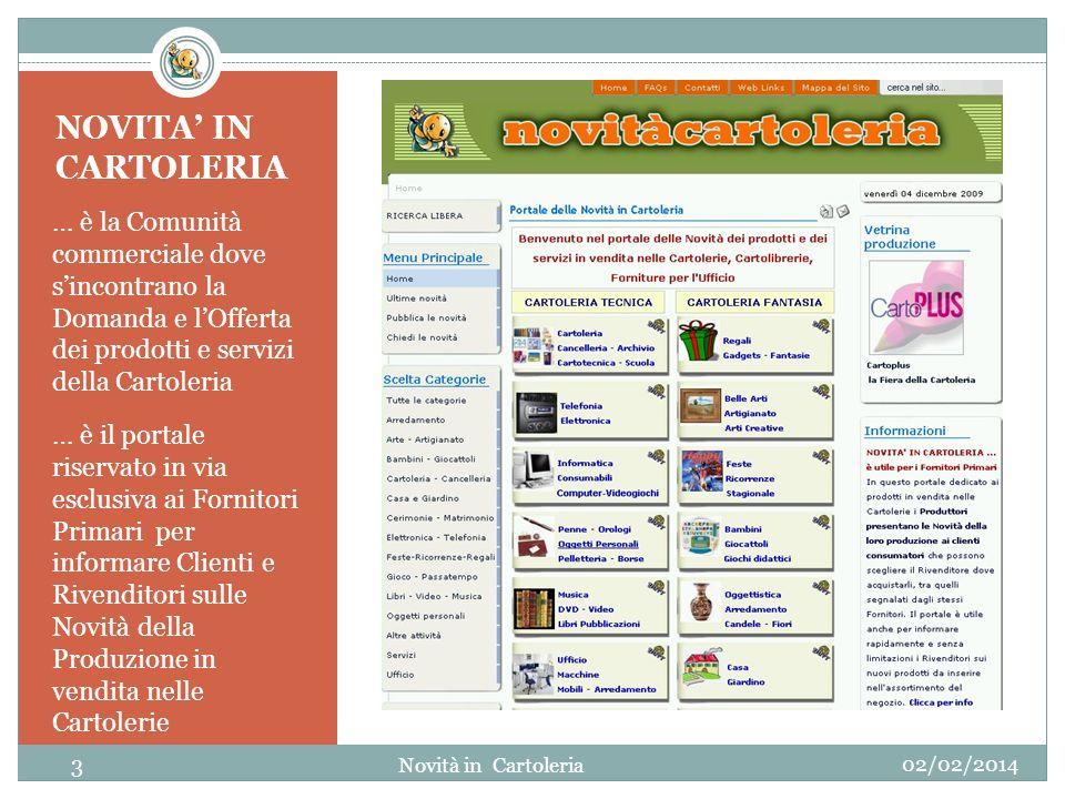 NOVITA' IN CARTOLERIA … è la Comunità commerciale dove s'incontrano la Domanda e l'Offerta dei prodotti e servizi della Cartoleria.