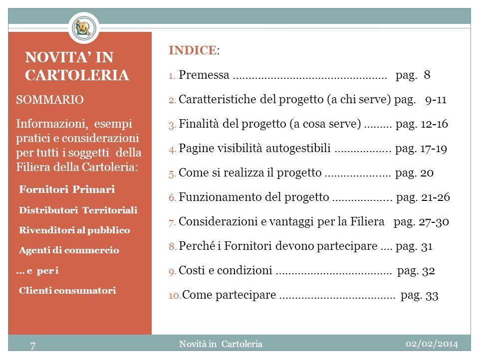 NOVITA' IN CARTOLERIA INDICE: Premessa …………………………………………. pag. 8