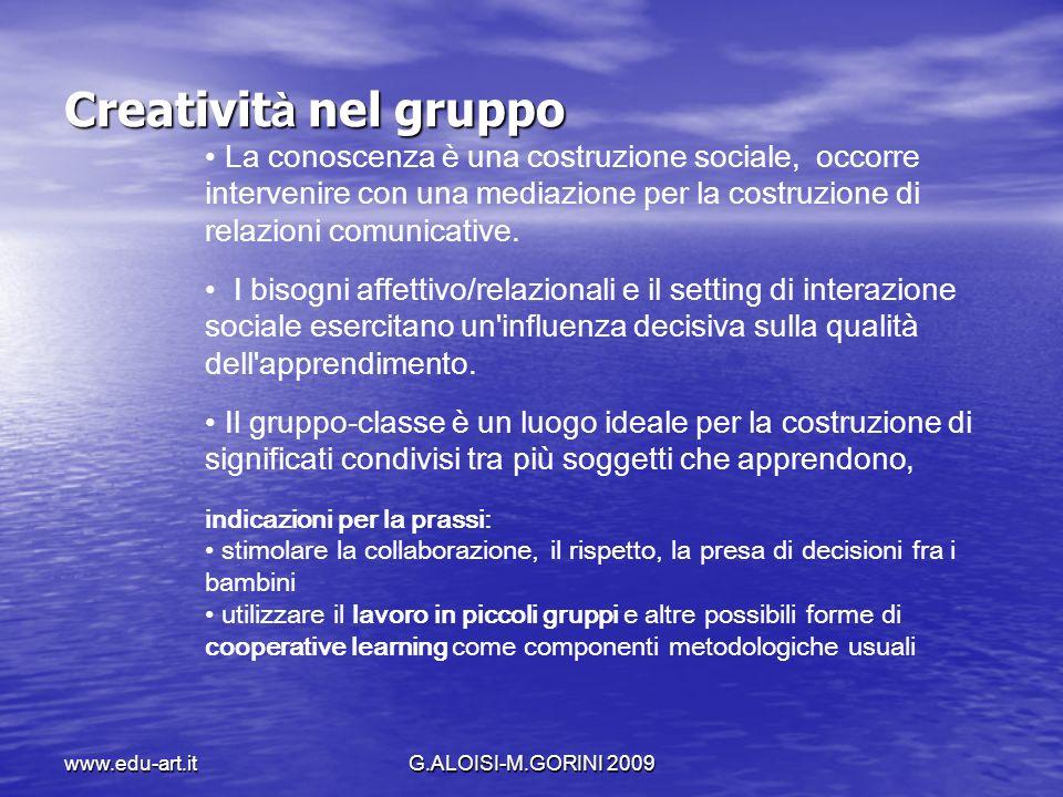 Creatività nel gruppo La conoscenza è una costruzione sociale, occorre intervenire con una mediazione per la costruzione di relazioni comunicative.