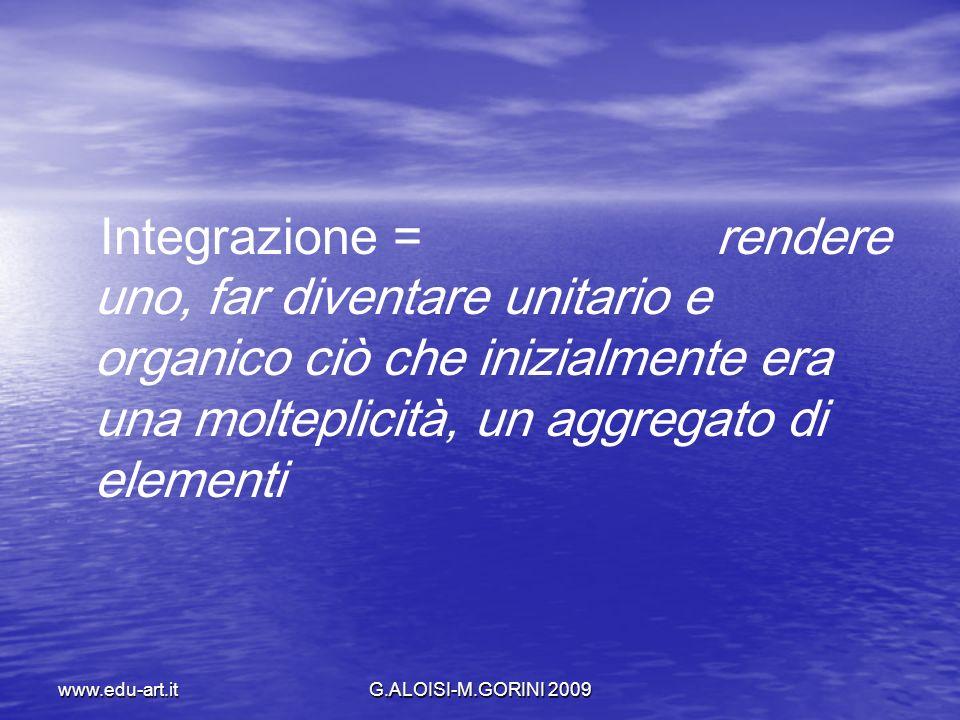 Integrazione = rendere uno, far diventare unitario e organico ciò che inizialmente era una molteplicità, un aggregato di elementi
