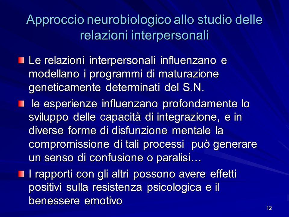 Approccio neurobiologico allo studio delle relazioni interpersonali