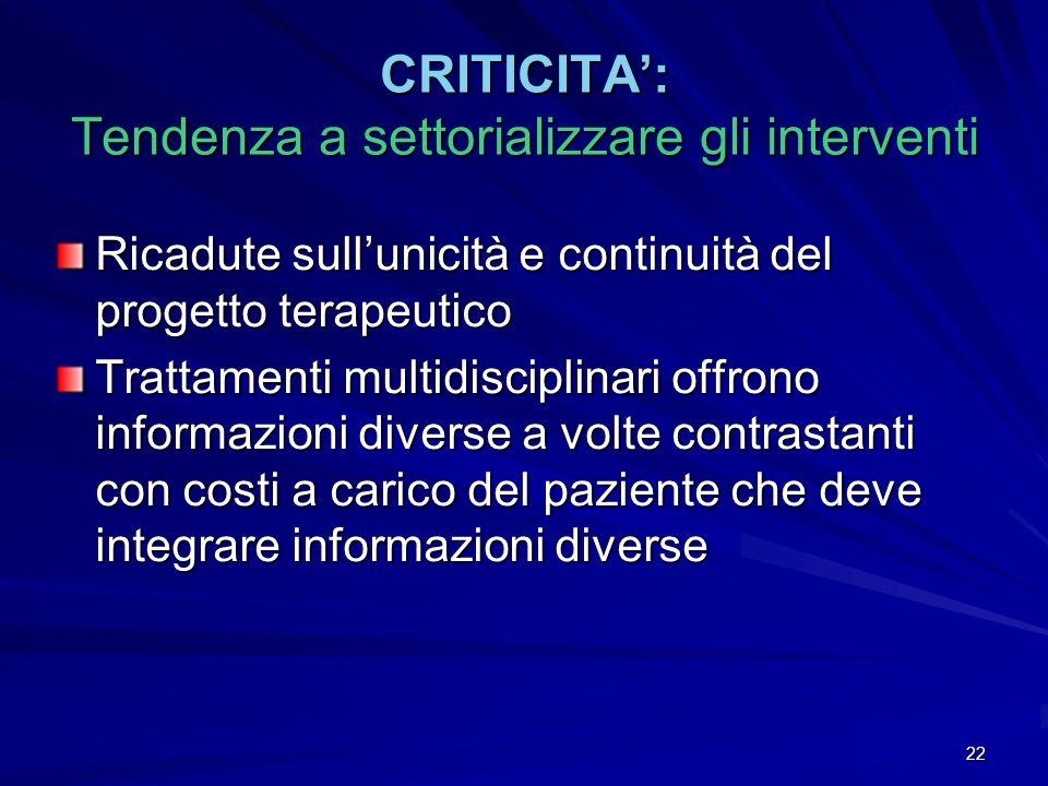 CRITICITA': Tendenza a settorializzare gli interventi