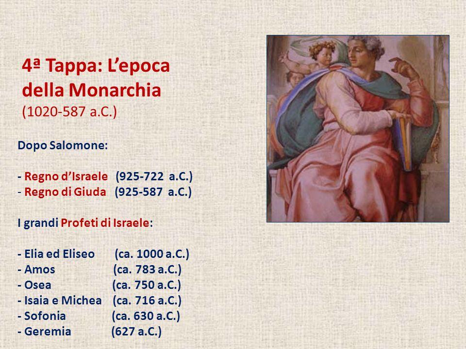 4ª Tappa: L'epoca della Monarchia (1020-587 a.C.) Dopo Salomone: