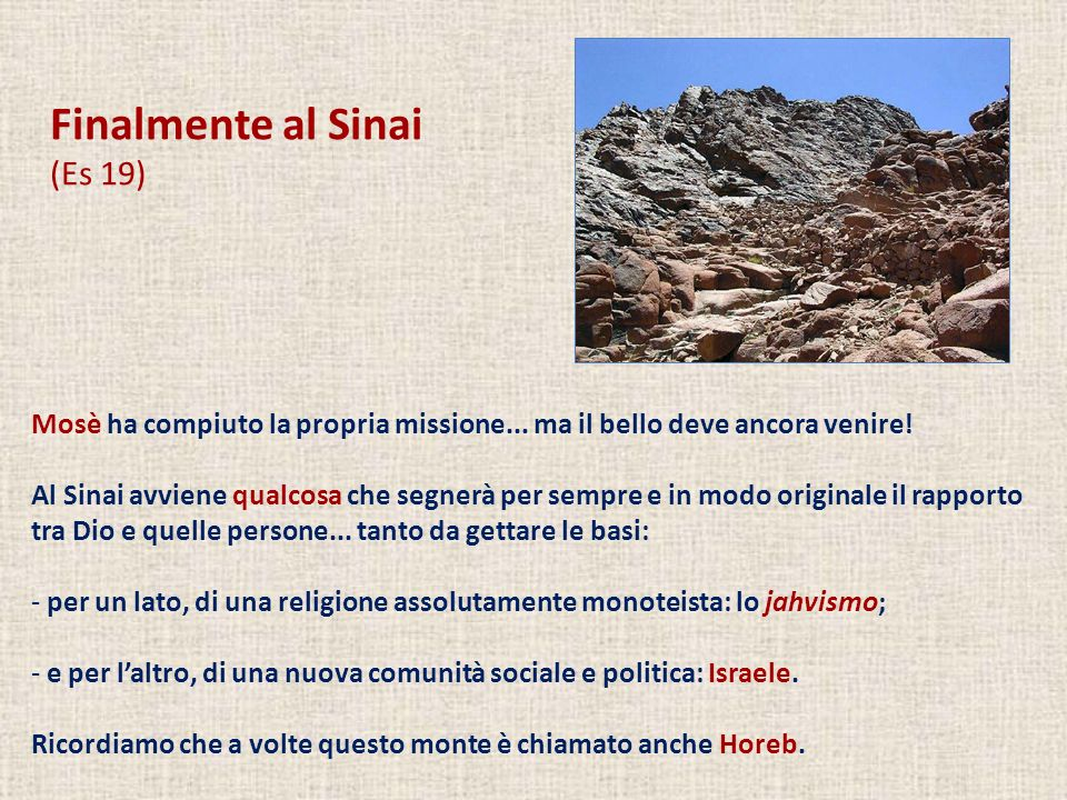 Finalmente al Sinai (Es 19)