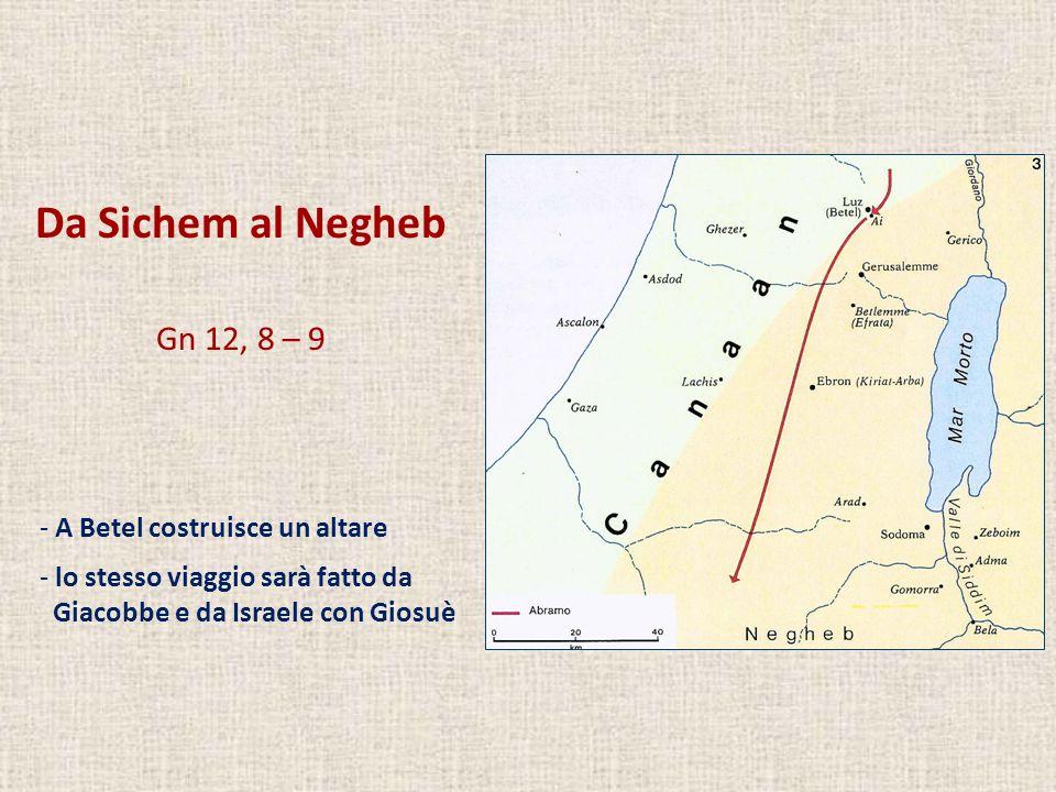 Da Sichem al Negheb Gn 12, 8 – 9 A Betel costruisce un altare