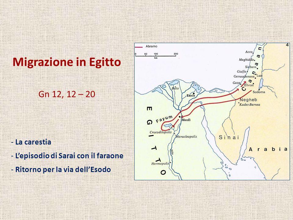 Migrazione in Egitto Gn 12, 12 – 20 La carestia